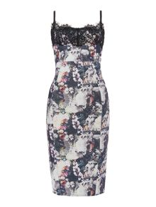 Floral print cami bodycon dress