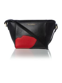 Abstract lips black small cross body bag