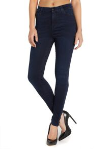High waisted super skinny jean in washed blue