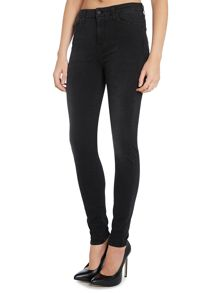 High waisted super skinny jean in washed black