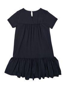 Girl`S Contrast Collar Drop Waist Dress