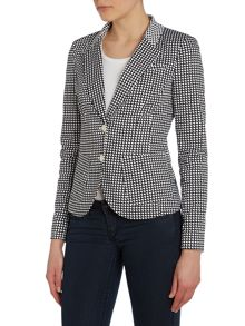 Single breasted optical print blazer jacket