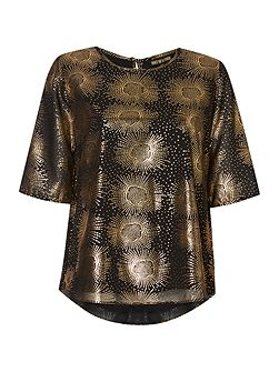Foil printed peplum back blouse