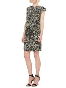 Animal print drawstring waist dress