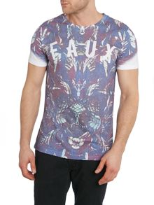 Friend or Faux Hydrate All Over Leaf Print Tee