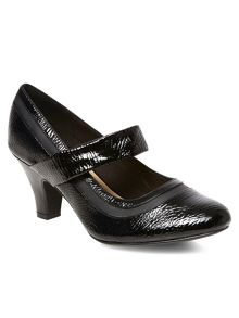 Black patent Mary Jane court shoes