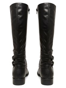 Black double strap long boots