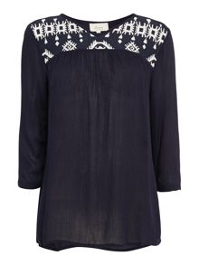 Ikat embroidered top