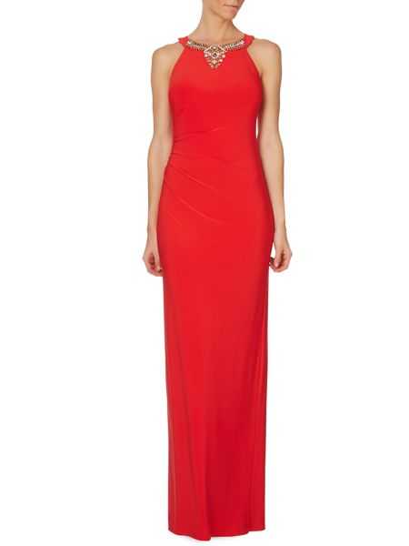 Vince Camuto Sleevless gown with gathered side & jeweled neck