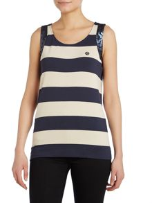 Sleeveless stripe sequin detail top