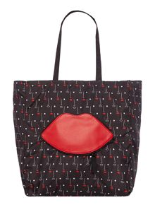 Multi-coloured two face fold away lips tote