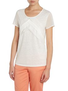Short sleeved linen lace mix top
