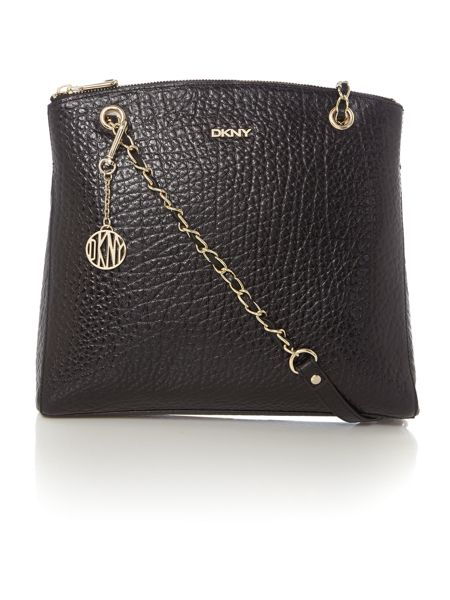 DKNY French grain black large chain cross body bag