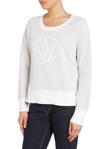 Long sleeved lurex sweater with sequin logo