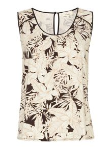 Palm print sleeveless blouse