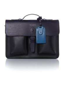 Colour Block Leather Document Bag