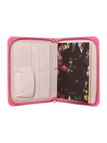 Oil blossom pink zip up portfolio case