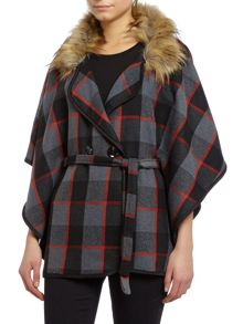Short sleeve check print faux fur collar cape
