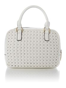 White small woven cross body bag with wristlet