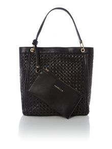Black large woven tote bag with wristlet