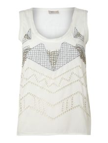 Angular cutwork embellised vest