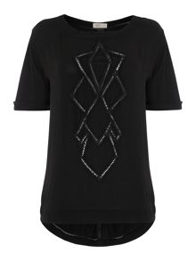 Acid wash cutwork woven tee