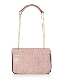 Frilly Snake pink flap over shoulder bag
