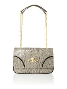 Frilly Snake grey flap over shoulder bag