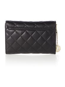 Quilted nappa black small flap over cross body