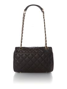 Quilted nappa black flap over cross body