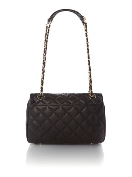 DKNY Quilted nappa black flap over cross body
