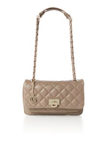 Quilted nappa neutral flap over cross body
