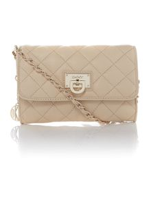 Quilted nappa neutral small flap over cross body