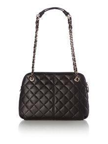 Quilted nappa black medium rounded cross body