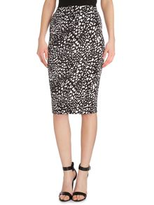 Print bodycon midi skirt
