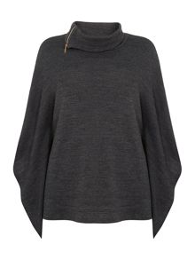 Knit zip detail poncho