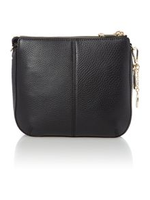 Tribeca black double zip rounded cross body
