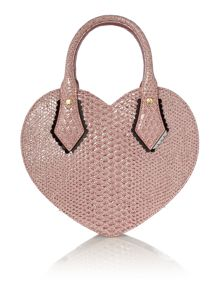 Frilly Snake pink heart dome bag