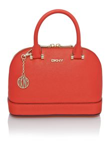 Saffiano orange mini dome bag