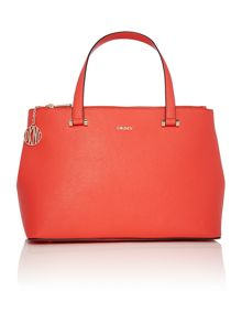 Saffiano orange large double zip tote bag