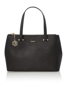 Saffiano black large double zip tote bag
