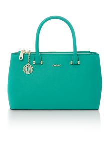 Saffiano green medium double zip tote bag