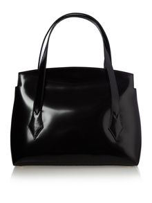 Monaco black medium patent shoulder tote bag
