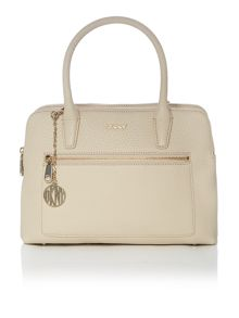 Tribeca neutral double zip satchel