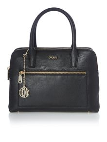 Tribeca black double zip satchel
