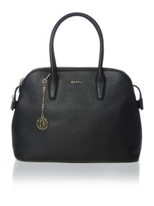Tribeca black triple zip satchel
