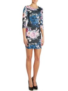 Long sleeved floral print bodycon dress