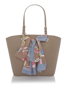 Tan large scarf tote bag