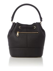 Tribeca black drawstring bucket bag