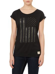 True Religion Relaxed fit flag print t-shirt